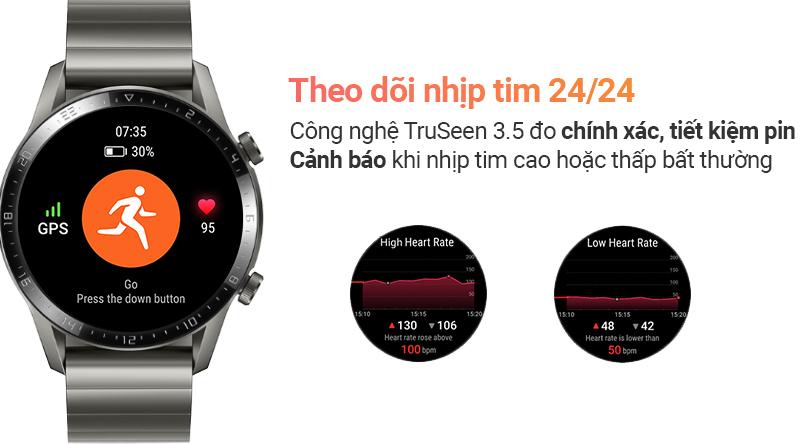 Smartwatch Huawei Watch GT 2 dây kim loại - Theo dõi nhịp tim