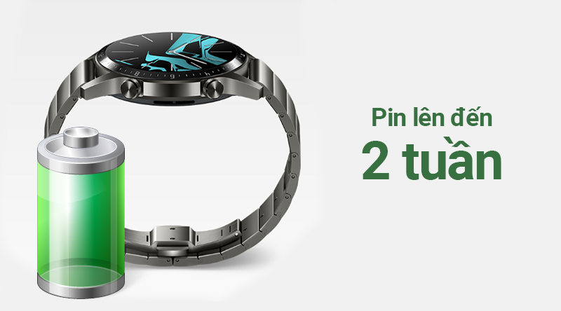 Smartwatch Huawei Watch GT 2 dây kim loại có pin dùng 2 tuần