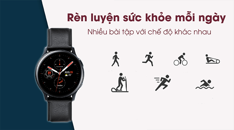 Đồng hồ thông minh Samsung Galaxy Watch Active 2 có nhiều chế độ luyện tập