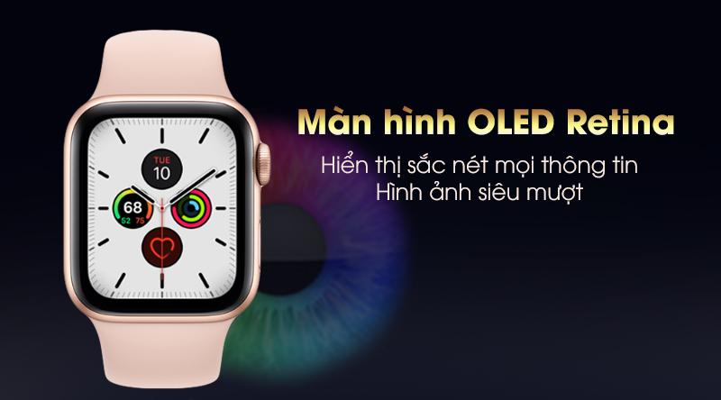 Apple Watch S5 phiên bản 40mm viền nhôm dây cao su hiển thị rõ ràng