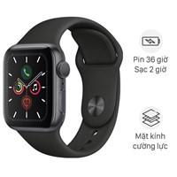 Apple Watch S5 44mm viền nhôm dây cao su đen