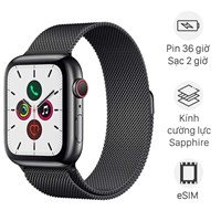 Apple Watch S5 LTE 44mm viền thép dây thép đen