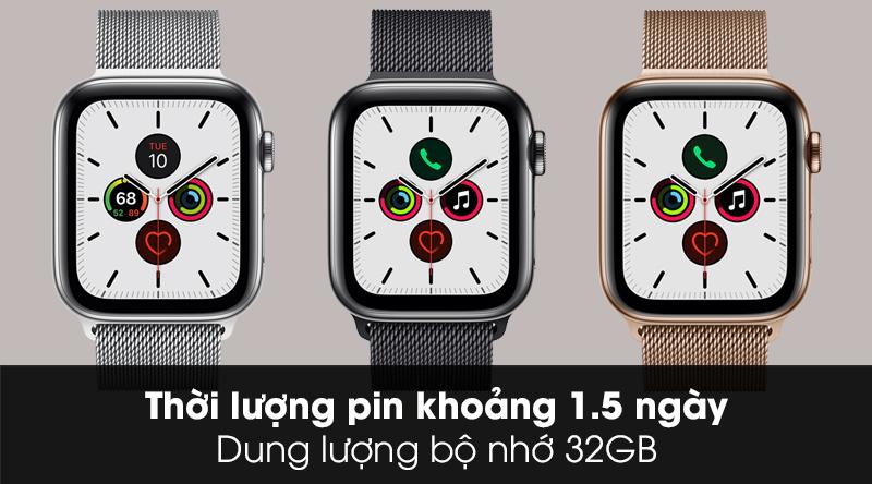 Apple Watch S5 LTE 44mm viền thép dây thép thời lượng pin 1.5 ngày và dung lượng bộ nhớ 32GB