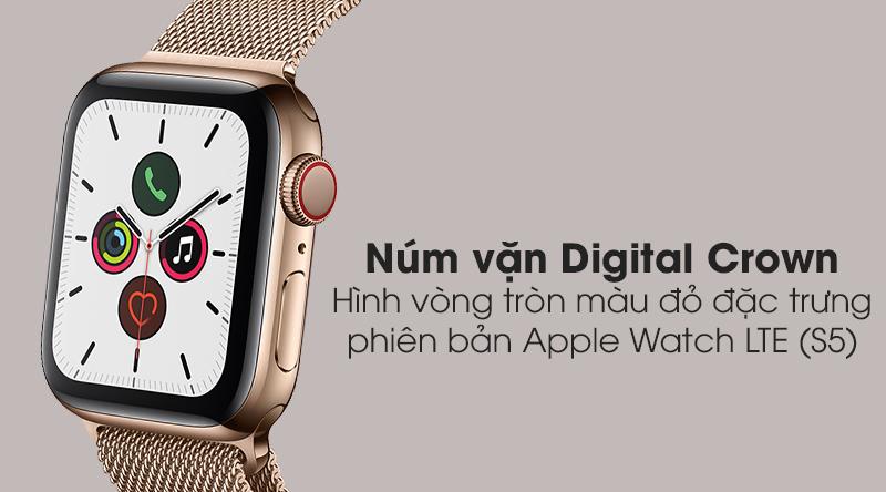 Apple Watch S5 LTE 44mm viền thép dây thép có núm vặn Digital Crown giúp người dùng phân biệt bản LTE và GPS