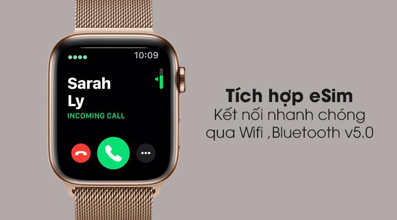 Apple Watch S5 LTE 44mm viền thép dây thép tích hợp eSim, kết nối Wifi, Bluetooth