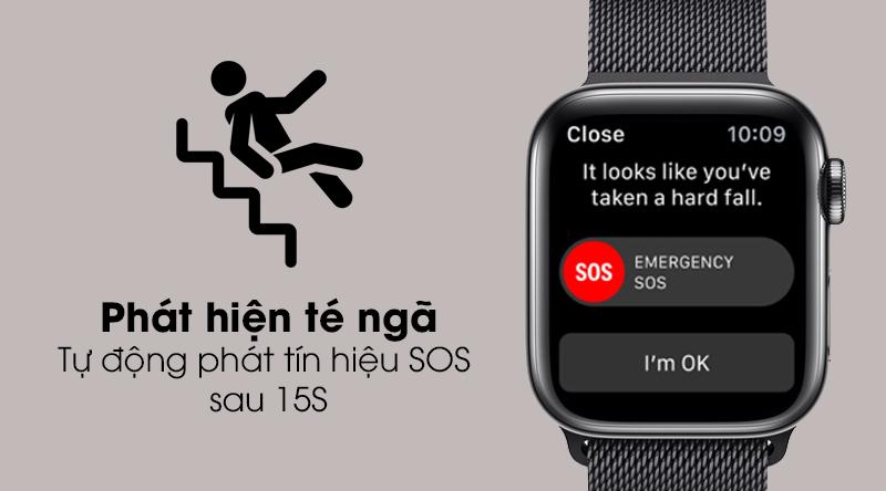 Apple Watch S5 LTE 44mm viền thép dây thép với tính năng phát hiện té ngã