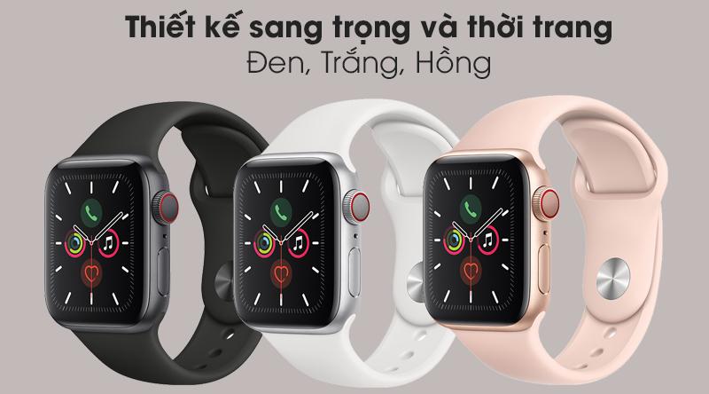Apple Watch S5 LTE 40mm viền nhôm dây cao su gồm 3 màu đen, trắng, hồng