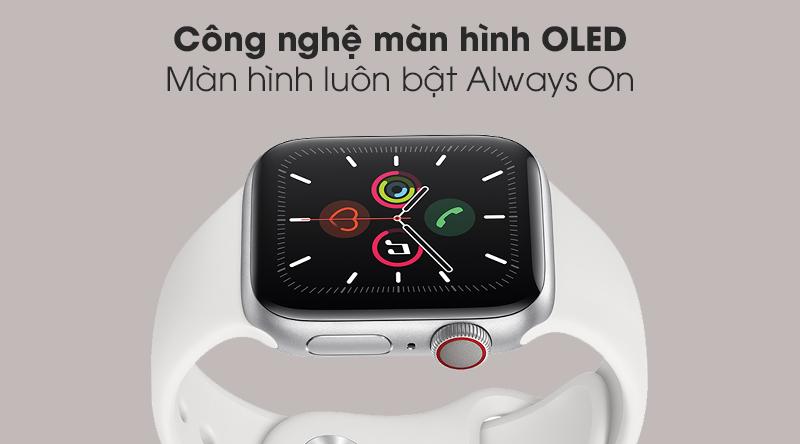 Apple Watch S5 LTE 40mm viền nhôm dây cao su với công nghệ màn hình OLED
