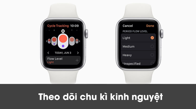 Apple Watch S5 LTE 40mm viền nhôm dây cao su theo dõi chu kì kinh nguyệt cho nữ
