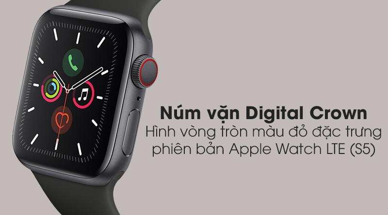 Apple Watch S5 LTE 40mm viền nhôm dây cao su với núm vặn Digital Crown có hình vòng tròn màu đỏ