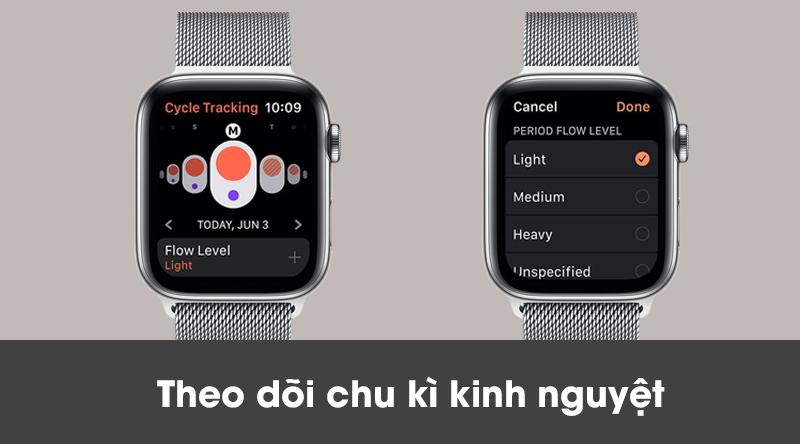 Apple Watch S5 LTE 40mm viền thép dây thép theo dõi chu kì kinh nguyệt