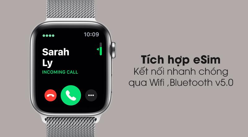 Apple Watch S5 LTE 40mm viền thép dây thép hỗ trơ tính năng eSim, kết nối Wifi, Bluetooth