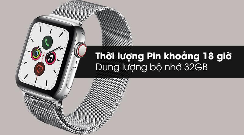 Apple Watch S5 LTE 40mm viền thép dây thép thời lượng Pin 18h và bộ nhớ trong 32GB