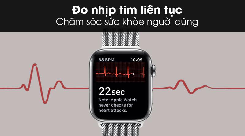 Apple Watch S5 LTE 40mm viền thép dây thép với công nghệ đo nhịp tim liên tục