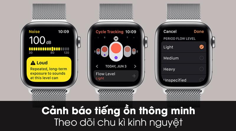 Apple Watch S5 LTE 40mm viền thép dây thép theo dõi chu kì kinh nguyệt và cảnh báo âm thanh ồn