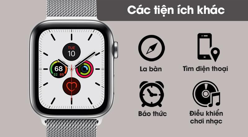 Apple Watch S5 LTE 40mm viền thép dây thép gồm rất nhiều những tiện ích tuyệt vời khác