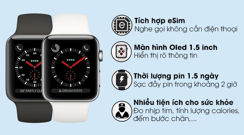 Apple Watch S3 LTE 38mm viền nhôm dây cao su
