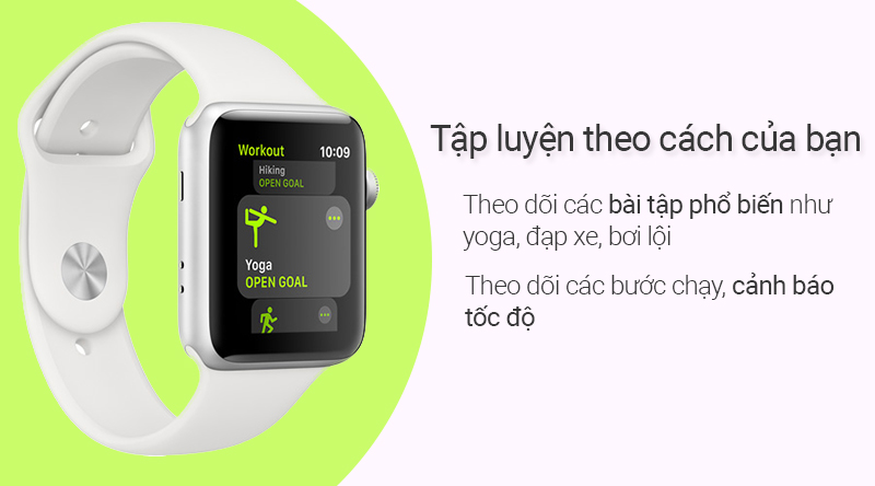 Đồng hồ thông minh Apple Watch S3 LTE 38mm hỗ trợ những bài tập cơ bản