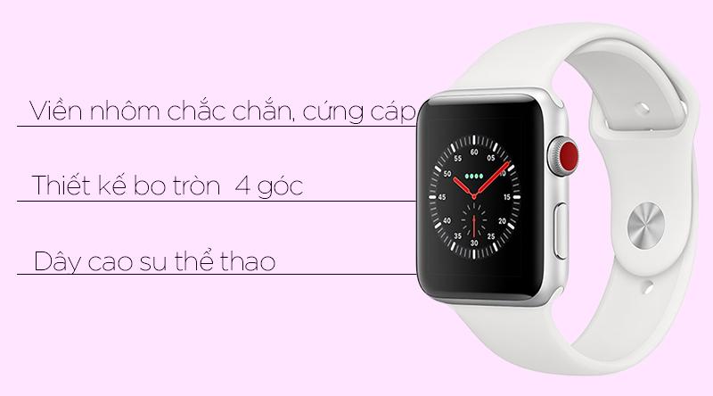 Đồng hồ thông minh Apple Watch S3 LTE 38mm dây cao su nhiều màu sắc