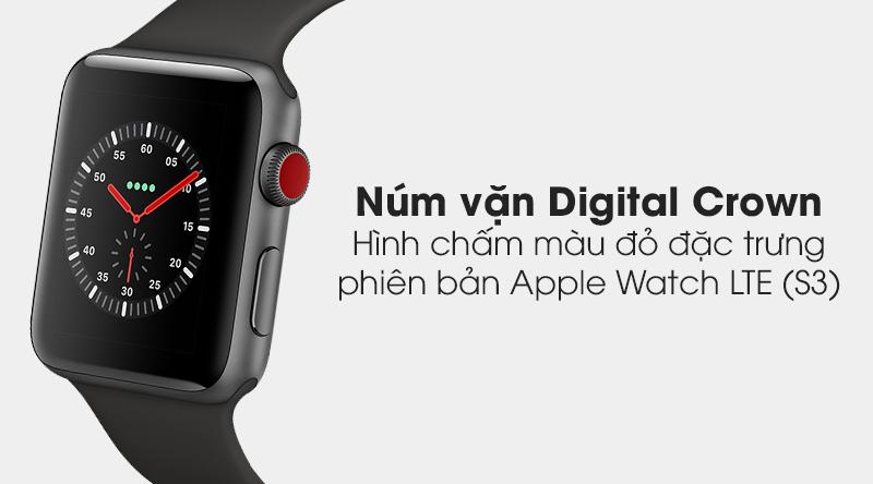 Đồng hồ thông minh Apple Watch S3 LT nút vặn Digital Crown với màu đỏ nổi bật