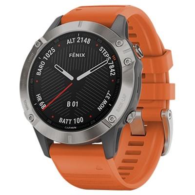 Đồng hồ thông minh Garmin Fenix 6 dây silicone viền Titanium