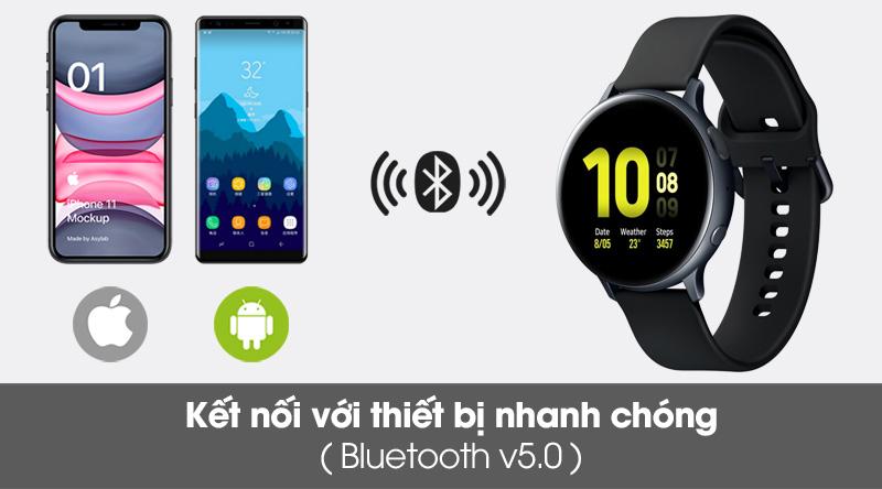 Đồng hồ thông minh Samsung Galaxy Watch Active 2 40mm viền nhôm dây silicone đen kết nối với thiết bị nhanh chóng