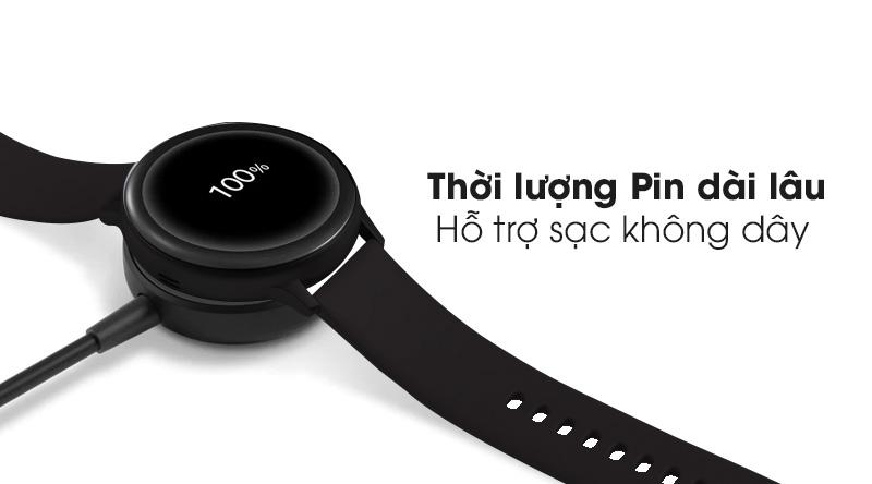 Đồng hồ thông minh Samsung Galaxy Watch Active 2 40mm viền nhôm dây silicone đen với thời lượng pin dùng được lâu dài