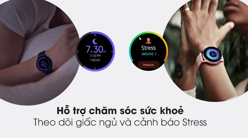 Đồng hồ thông minh Samsung Galaxy Watch Active 2 40mm viền nhôm dây silicone đen với tính năng theo dõi giấc ngủ và cảnh báo Stress