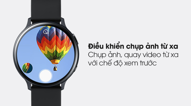Đồng hồ thông minh Samsung Galaxy Watch Active 2 40mm viền nhôm dây silicone đen giúp ngời dùng điều khiển camera trên điện thoại