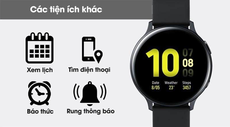 Đồng hồ thông minh Samsung Galaxy Watch Active 2 40mm viền nhôm dây silicone đen gồm nhiều tính năng khác