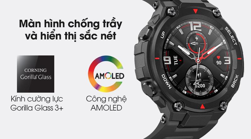 Đồng hồ thông minh Huami Amazfit T-Rex trang bị màn hình cường lực, hiển thị sắc nét