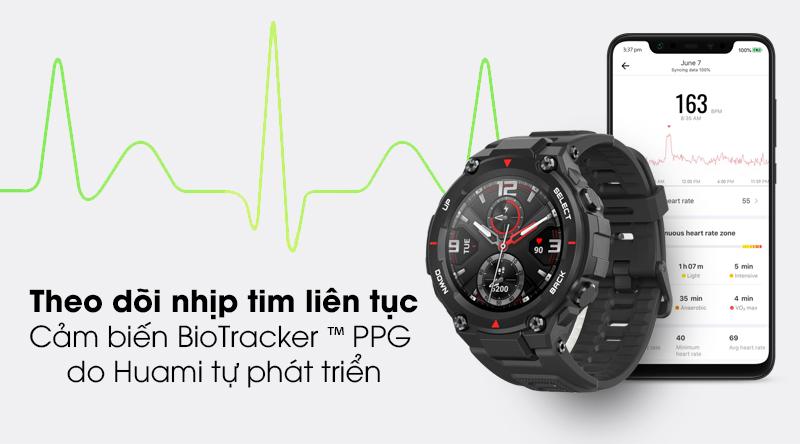 Đồng hồ thông minh Huami Amazfit T-Rex với tính năng theo dõi nhịp tim đều đặn