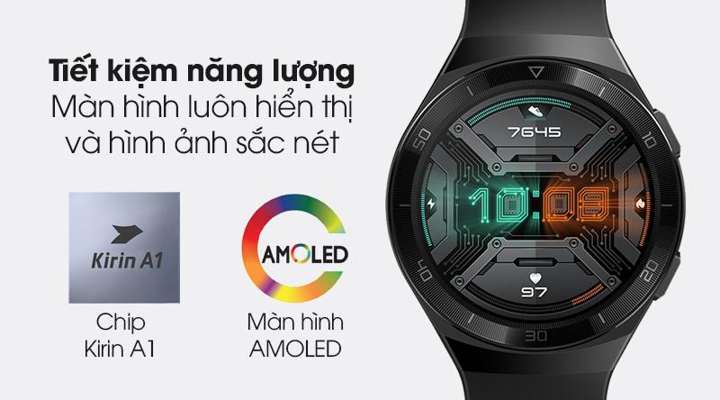 Đồng hồ thông minh Huawei Watch GT 2E 46mm dây silicone trang bị chip Kirin A1 tiết kiệm điện năng và màn hình sắc nét