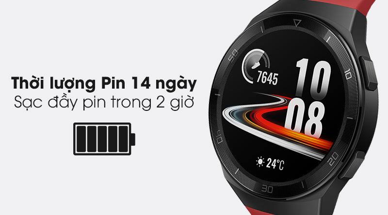 Đồng hồ thông minh Huawei Watch GT 2E 46mm dây silicone có dung lượng pin lớn lên đến 14 ngày