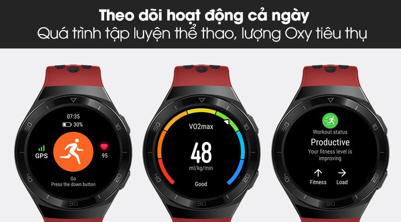 Đồng hồ thông minh Huawei Watch GT 2E 46mm dây silicone theo dõi sức khoẻ người dùng hằng ngày