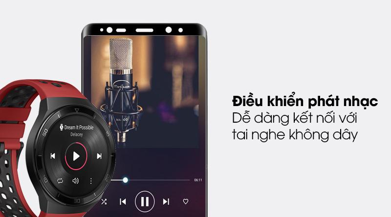 Đồng hồ thông minh Huawei Watch GT 2E 46mm dây silicone giúp người dùng thưởng thức âm nhạc được dễ dàng