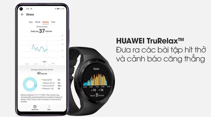 Đồng hồ thông minh Huawei Watch GT 2E 46mm dây silicone giúp người dùng giảm stress hiệu quả