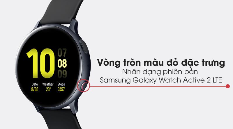 Đồng hồ thông minh Samsung Galaxy Watch Active 2 LTE 44mm viền nhôm dây sillicone với vòng tròn đỏ đặc trưng phiên bản LTE