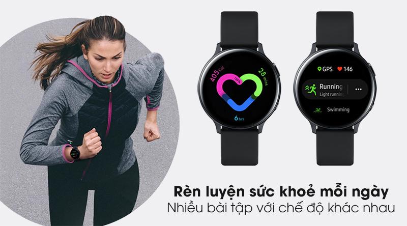 Đồng hồ thông minh Samsung Galaxy Watch Active 2 LTE 44mm viền nhôm dây sillicone gồm nhiều bài tập thể dục rèn luyện sức khoẻ