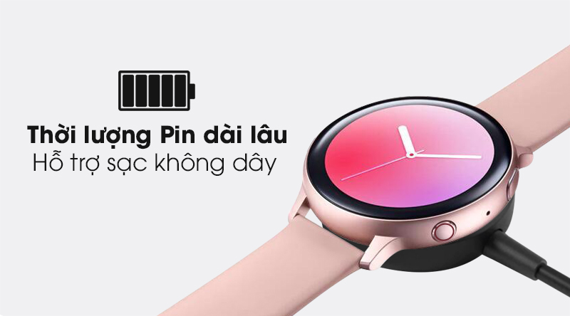 Đồng hồ thông minh Samsung Galaxy Watch Active 2 LTE 40mm viền nhôm dây silicone cùng dung lượng Pin dài và hỗ trợ sạc không dây