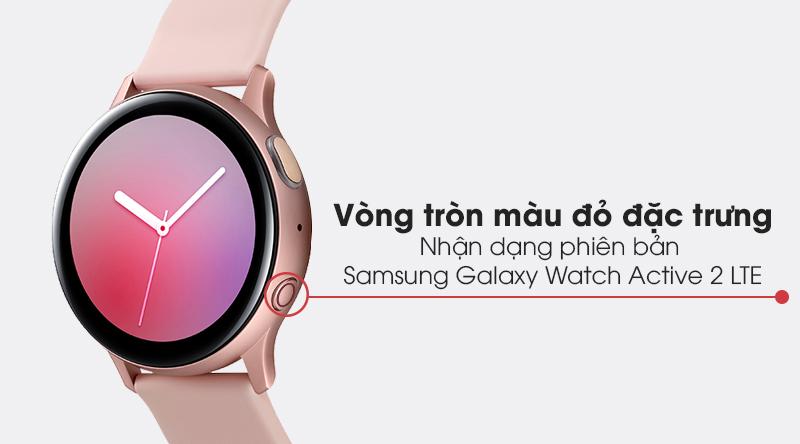 Đồng hồ thông minh Samsung Galaxy Watch Active 2 LTE 40mm viền nhôm dây silicone dễ nhận dạng với vòng tròn màu đỏ ở nút nguồn