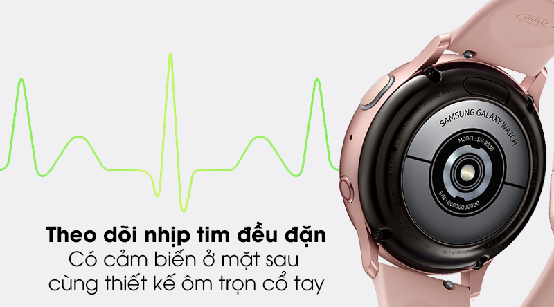 Đồng hồ thông minh Samsung Galaxy Watch Active 2 LTE 40mm viền nhôm dây silicone có tính năng theo dõi nhịp tim đều đặn