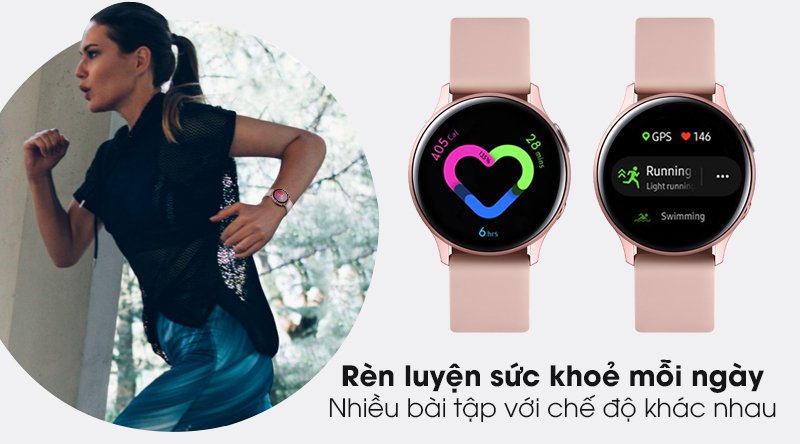 Đồng hồ thông minh Samsung Galaxy Watch Active 2 LTE 40mm viền nhôm dây silicone với tính năng rèn luyện sức khoẻ hằng ngày