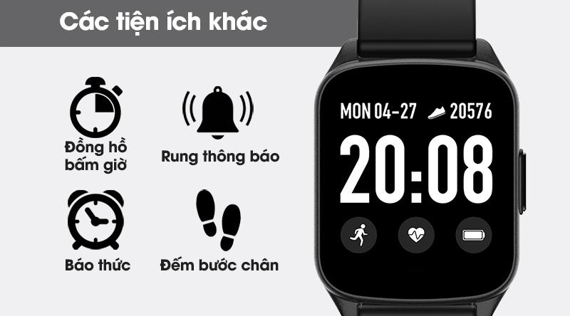 Đồng hồ thông minh BeU Fit KW17 đen cùng nhiều tiện ích khác