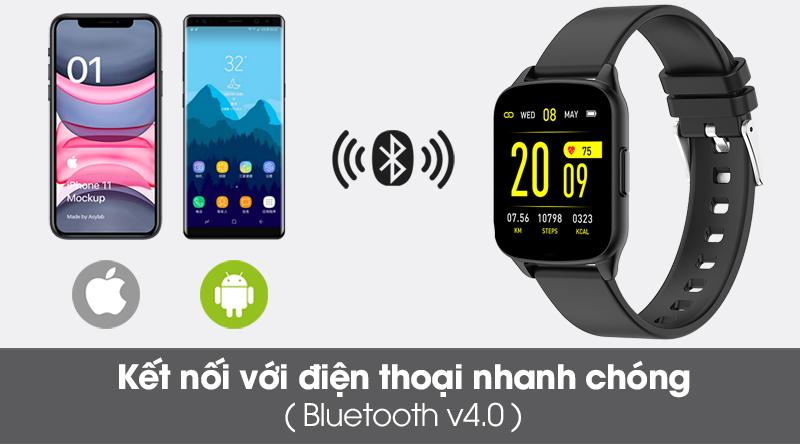 Đồng hồ thông minh BeU Fit KW17 đen kết nối với điện thoại nhanh chóng