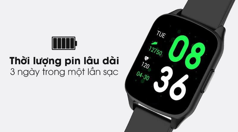 Đồng hồ thông minh BeU Fit KW17 đen trang bị pin dùng được 3 ngày