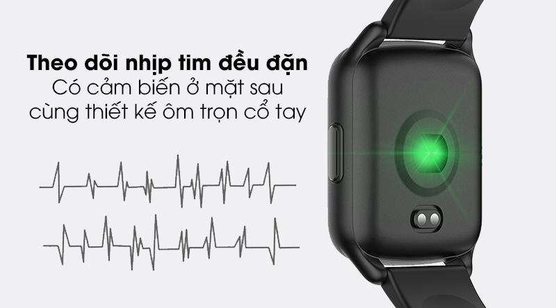 Đồng hồ thông minh BeU Fit KW17 đen với tính năng theo dõi nhịp tim