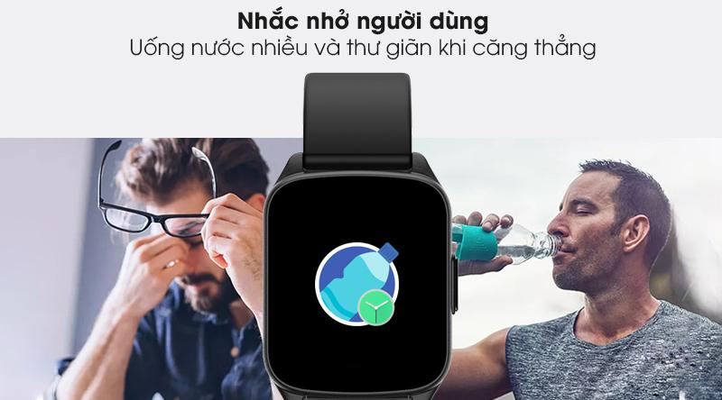Đồng hồ thông minh BeU Fit KW17 đen quan tâm đến sức khoẻ người dùng