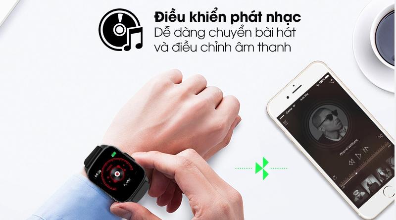 Đồng hồ thông minh BeU Fit KW17 đen có thể điều khiển phát nhạc từ xa