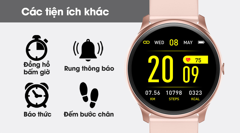 Đồng hồ thông minh BeU Fit KW19 hồng còn có nhiều tính năng hữu ích khác